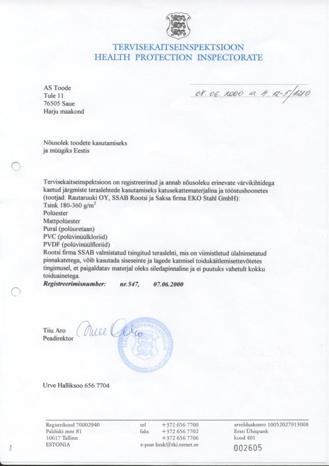 Tervisekaitseameti sertifikaat